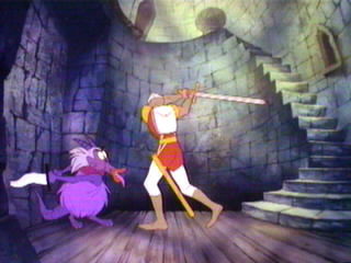 Screenshot of gameplay from Dragon's Lair arcade video game