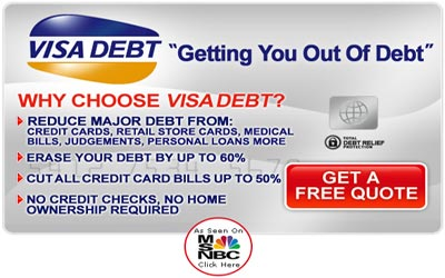 Need to get out of debt?  Visa Debt offers debt relief options for thousands of Americans in debt.Our service is completely free so sign up today and start your path to being debt free!Click Here for Details...