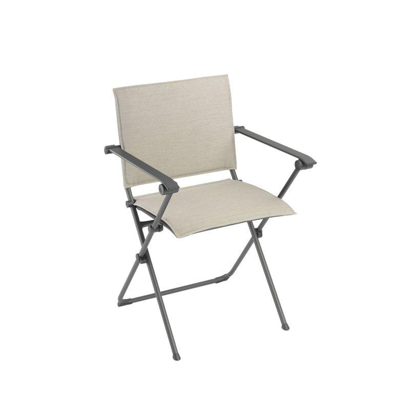 fauteuil repas pliant anytime privilege hedona coloris tube titane toile latte lafuma