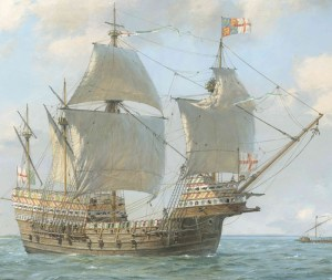 Geoff Hunt's painting of the Mary rose under sail. Image: Geoff Hunt & The Mary Rose Trust)