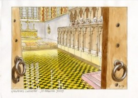 Artist's reconstruction of the choir of the grey friars church looking east showing the alabaster slab laid over the burial place of Richard III. Credit: Jill Atherton