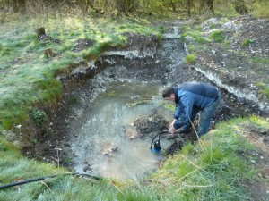 Springs often create excellent preservation conditions — but they also make for rather waterlogged excavations, as the team found when they returned to the site this Easter. Credit: Fred Westmoreland