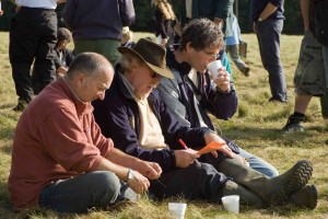 Tony Robinson and Time Team's Series Producer, Tim Taylor, discuss the plan of action on-site