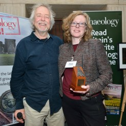 Roberta Gilchrist receives the award for Archaeologist of the Year 2016 from Julian Richards. Aerial-Cam / Current Archaeology