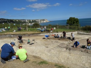 Excavating at East Wear Bay with Canterbury Archaeological Trust. (Photo: Canterbury Archaeological Trust).