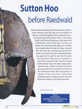CA 180, feature reporting the opening of a new visitor centre at Sutton Hoo by Seamus Heaney in 2002, and looking at the associated archaeological excavations