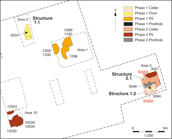 A plan of some of the early medieval features identified during the project