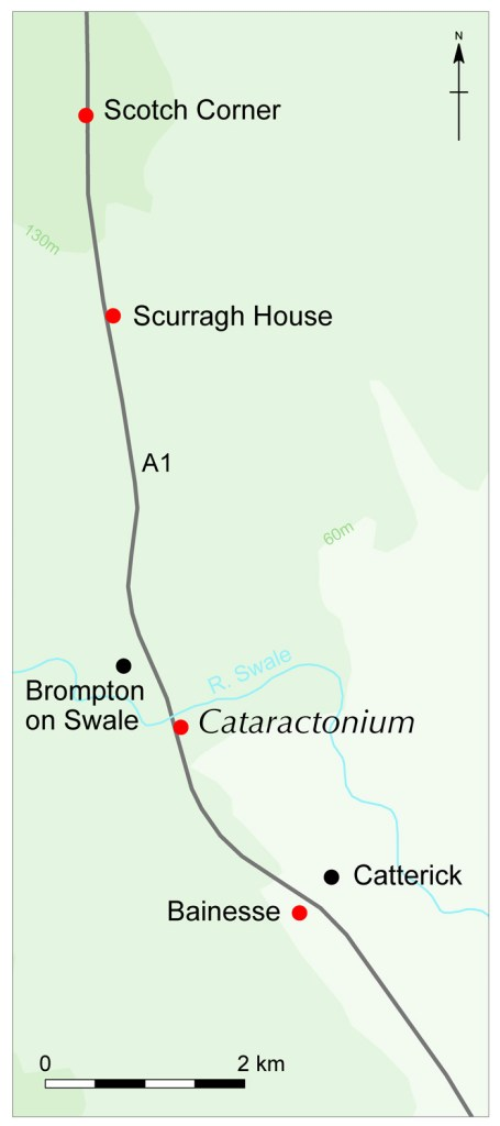 Map of locations of the excavated sites along the A1