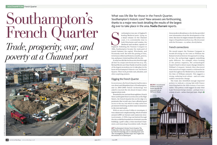Two page spread of CA article titled 'Southampton's French Quarter'