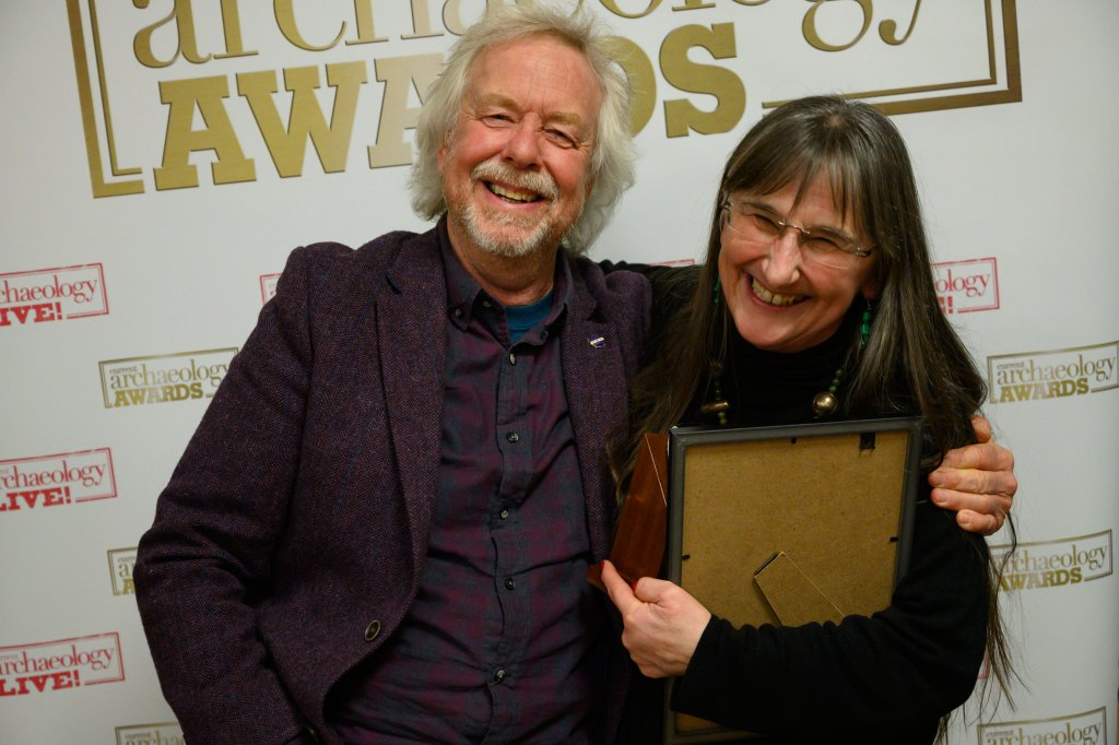 Alison Sheridan, winner of Archaeologist of the Year 2020, with Julian Richards who presented the Current Archaeology Awards.