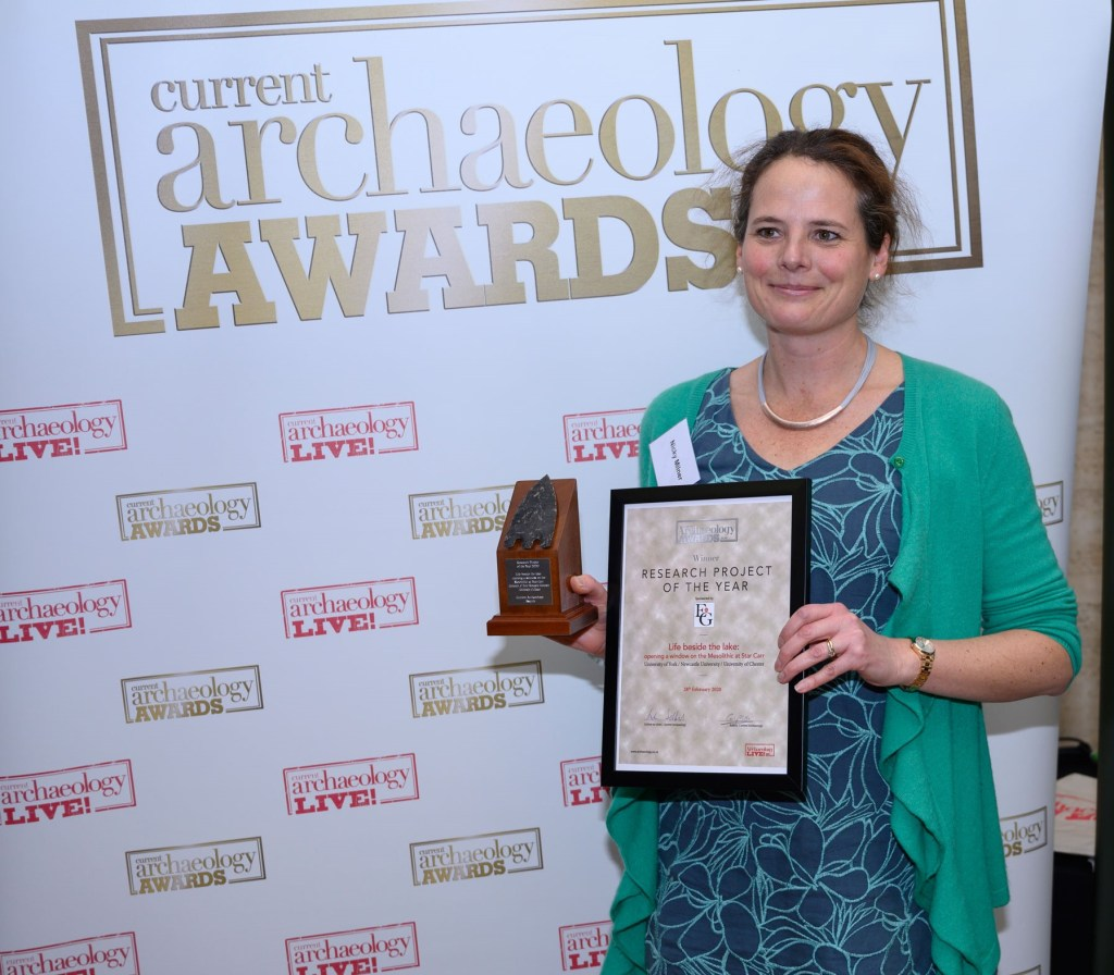 Nicky Milner from the University of York collected the 2020 award for Research Project of the Year on behalf of the team working at Star Carr.