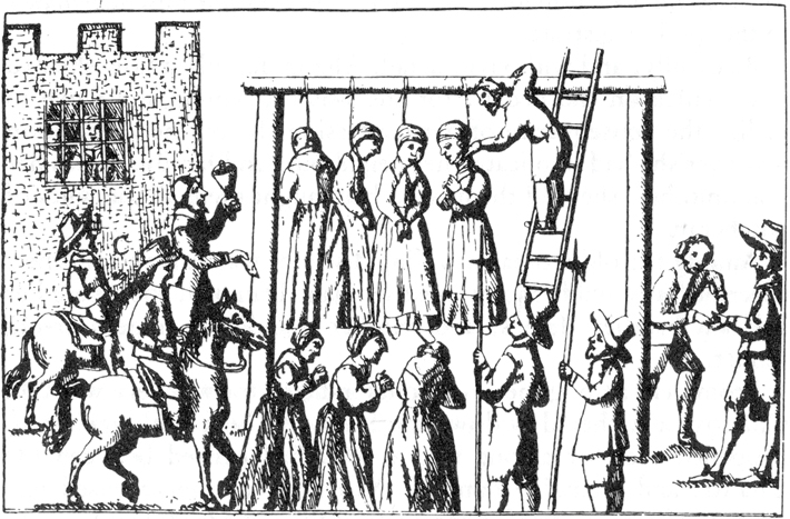 Pendle 17th Century Witchcraft Hanging Illustration