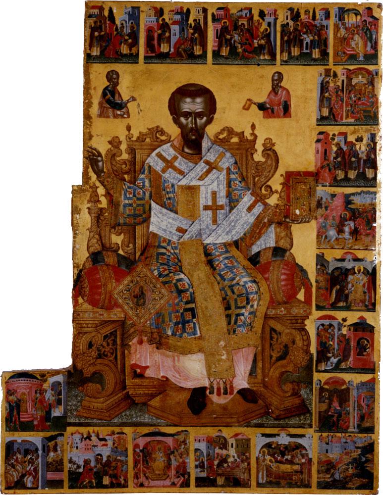 Από την αφίσα της εκδήλωσης «Εικόνα του αγίου Ιωάννου του Χρυσοστόμου με σκηνές του βίου του στο Μουσείο Ζακύνθου. Ένα αριστούργημα περιμένει τα χαμένα του κομμάτια».