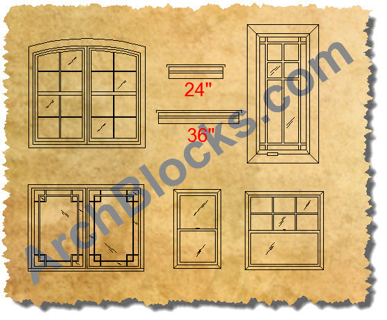CAD Window Symbols AutoCAD Window Blocks Custom CAD
