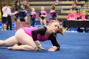 Lindenwood Gymnastics Katey Oswalt during her Floor Routine against Illinois