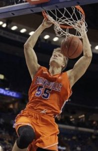 Evansville's Egidijus Mockevicius (55) dunks the ball in the first half of an NCAA college basketball game against Illinois State in the quarterfinals of the Missouri Valley Conference tournament, Friday, March 6, 2015, in St. Louis. Associated Press