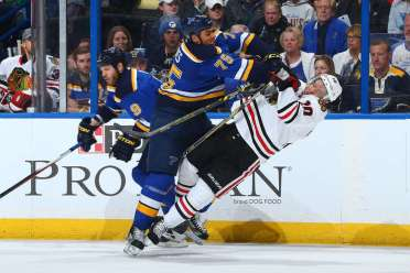 The Blues/Blackhawks rivalry is one of the utterly most intense in the NHL and never fails to put a great game together. Photo via Dilip Vishwanat/Getty Images.)