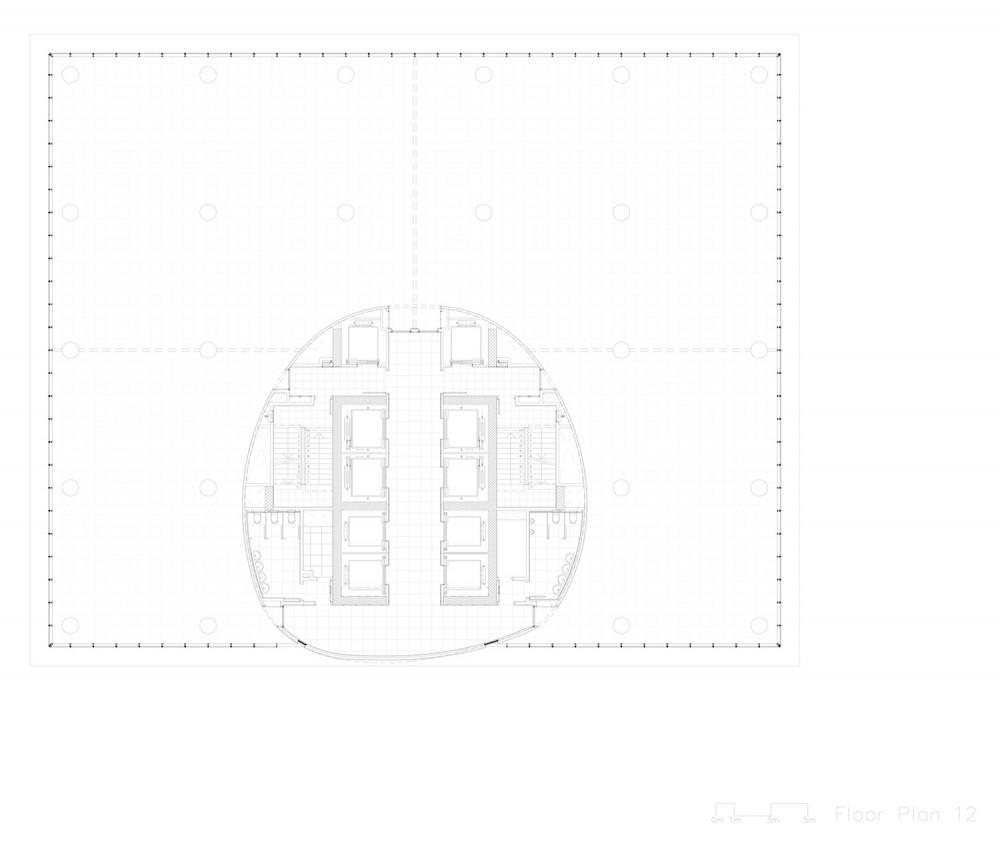 planta torre oficinas office tower floor plan 1