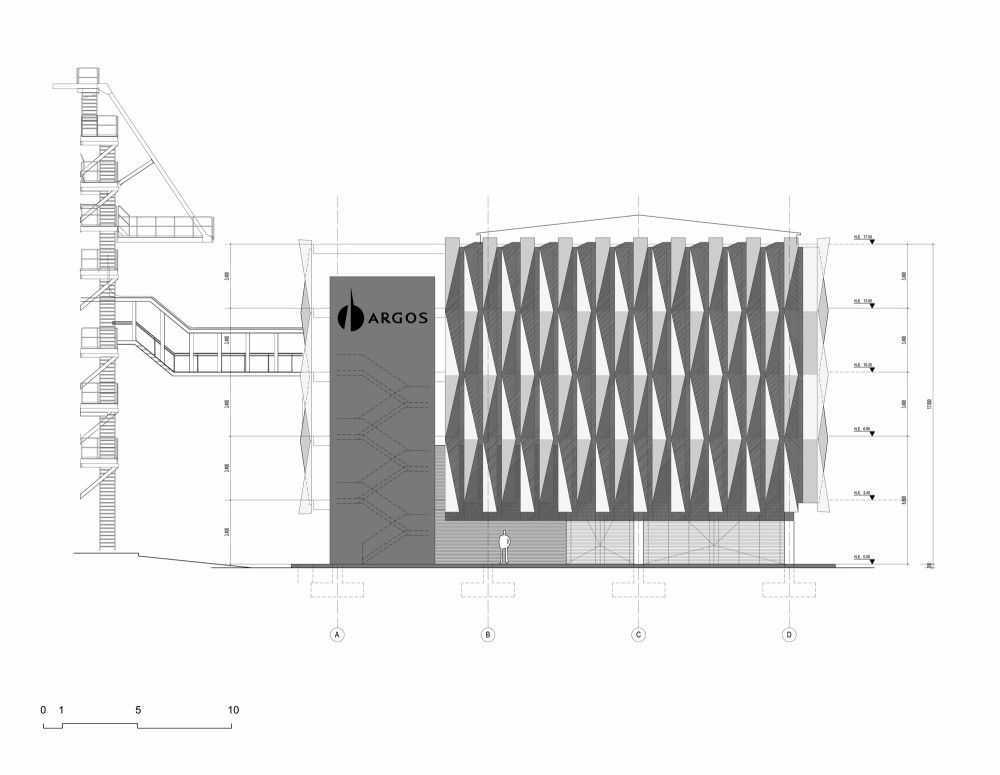 Argos, Building for an Electrical Generator at a Cement Factory - Felipe Gonzalez-Pacheco elevation 01