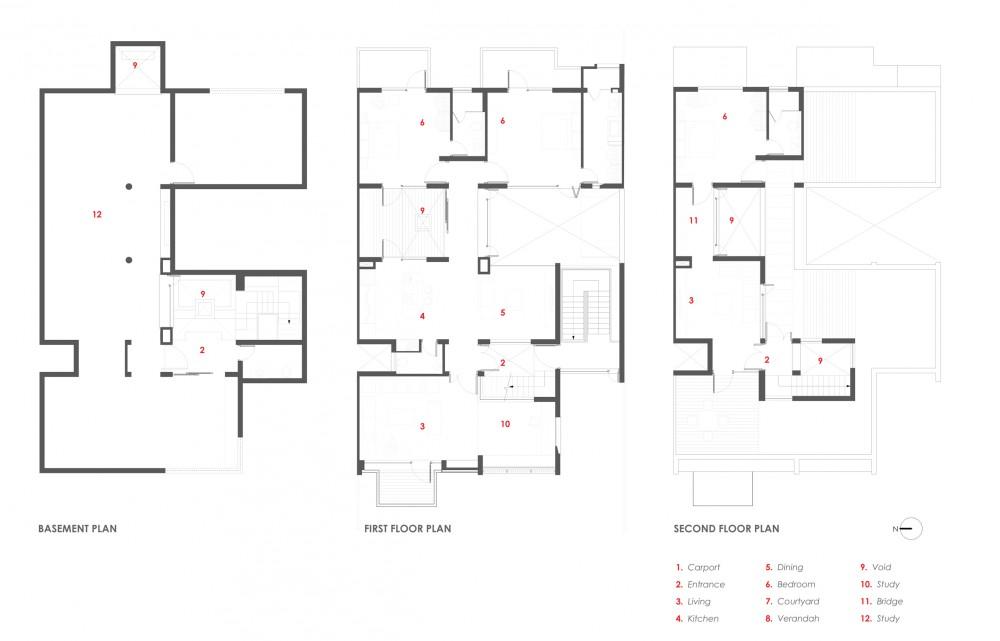 basement, second & third floor plans basement, second & third floor plans