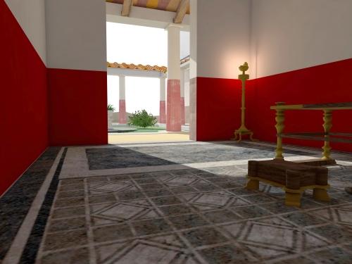 Ipotesi ricostruttiva dell'interno della domus dei mosaici