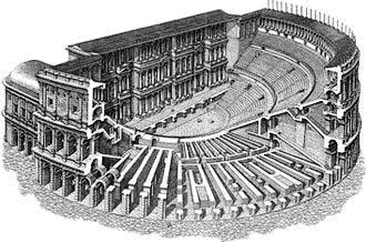 Disegno ricostruttivo di un teatro romano