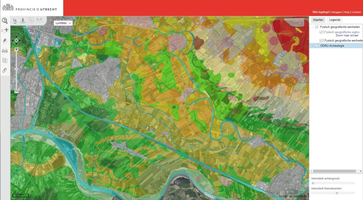 Geomorfologische kaart van het Kromme Rijngebied, w.o. Houten - Vechten