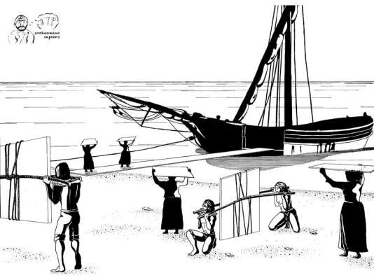 Figura 6 - Il carico dell'ardesia sui eludi di Lavagna