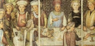 Cibo longobardo. Fratelli Zavattari, Il banchetto di nozza della regina Teodolinda, Duomo di Monza
