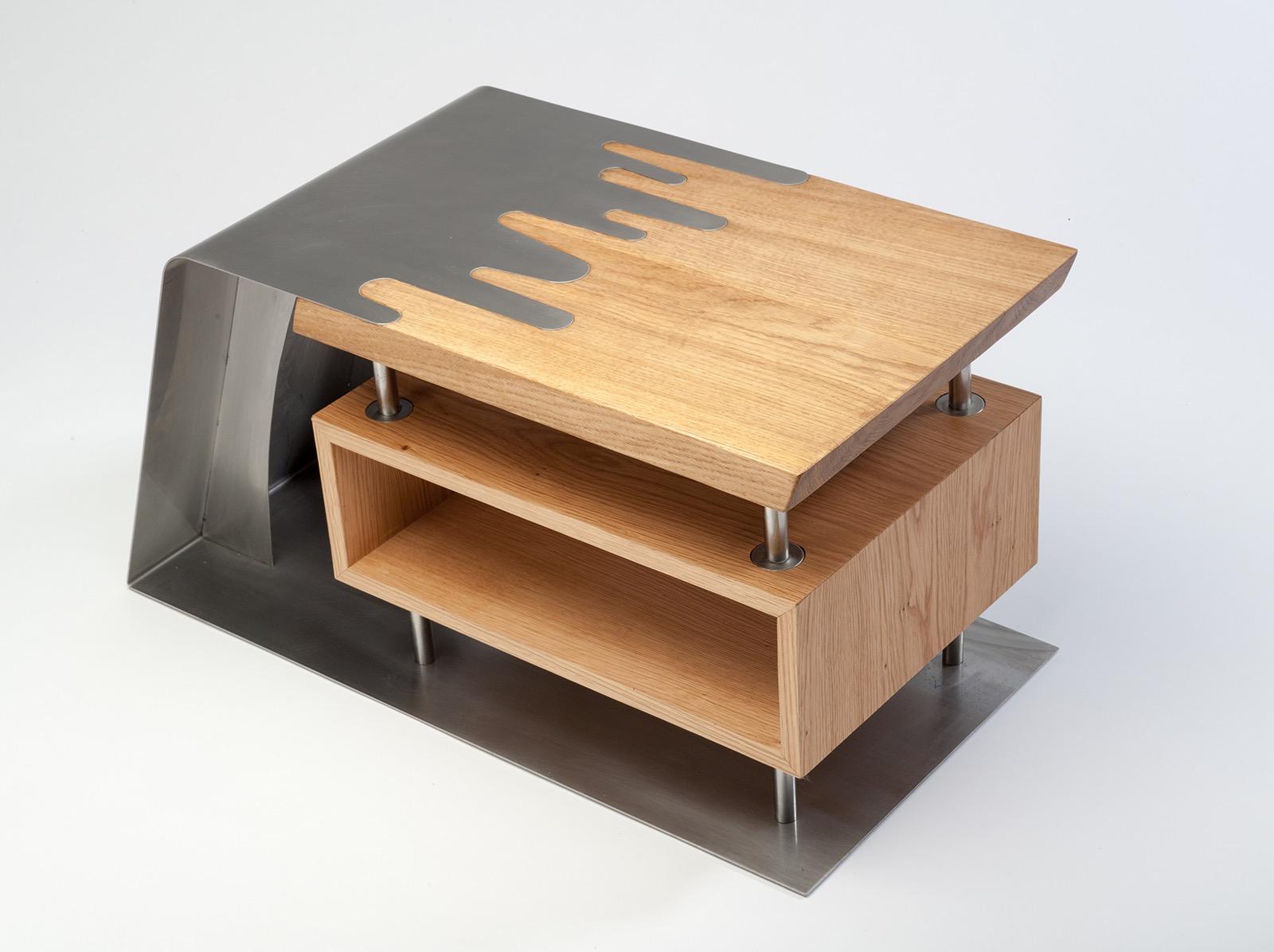 Oak Steel TV Media Stand James Archer Furniture