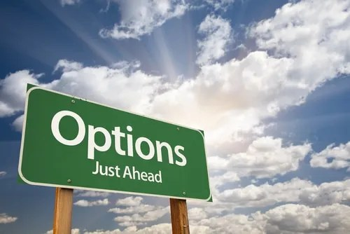 Options Just Ahead Highway Sign
