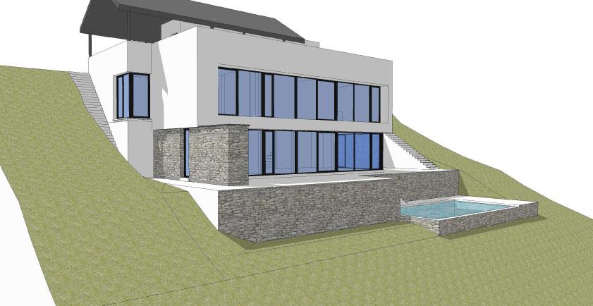 Maison contemporaine avec piscine sur versant à Wavre - Hervé ...