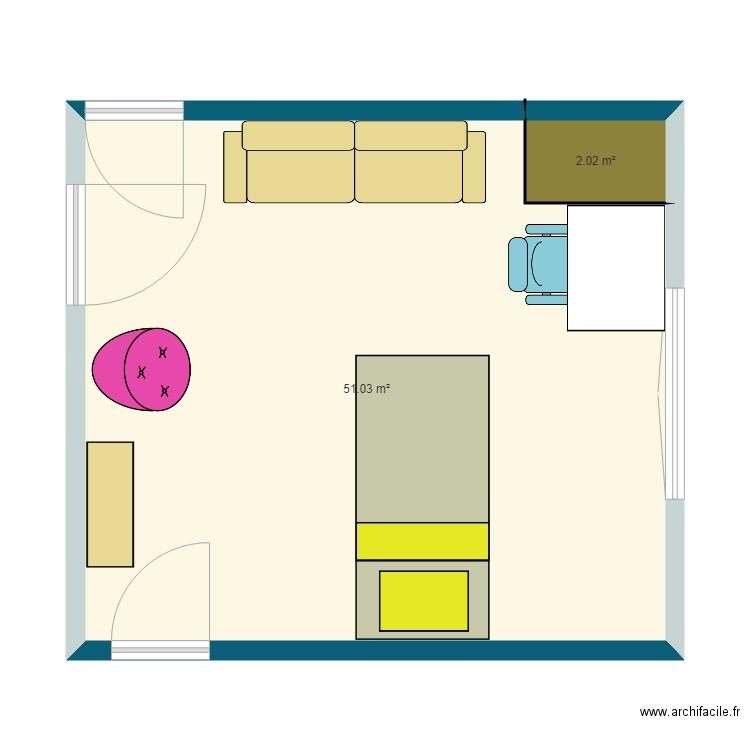 Chambre 3d Plan 2 Pieces 53 M2 Dessine Par Gwendoline163