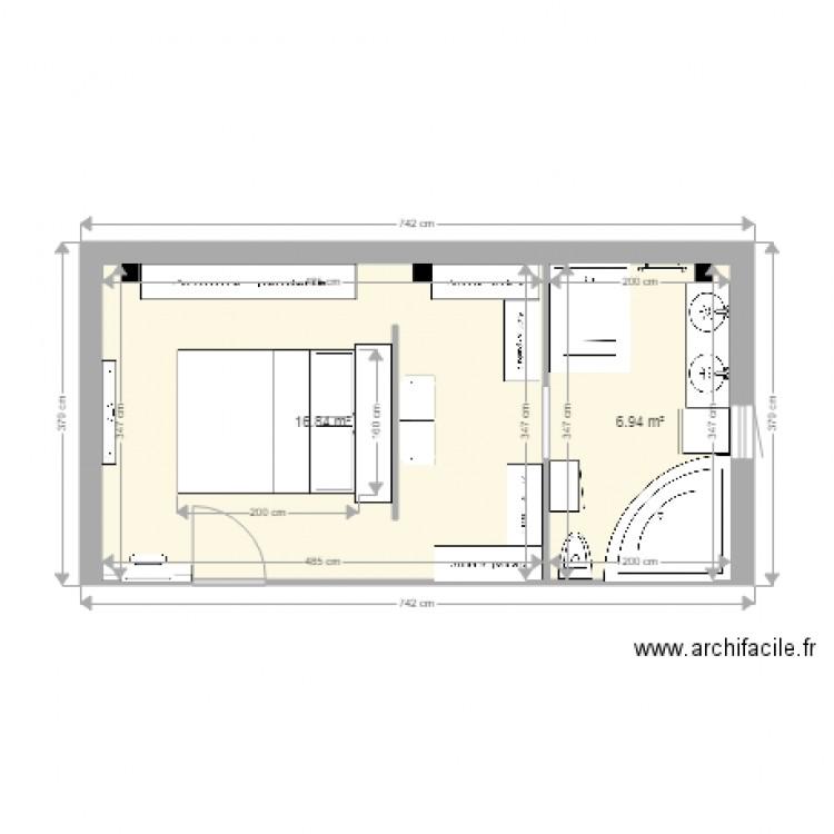 Chambre Parentale Lit Dressing Sdb Plan 2 Pieces 24 M2 Dessine Par Berbalang