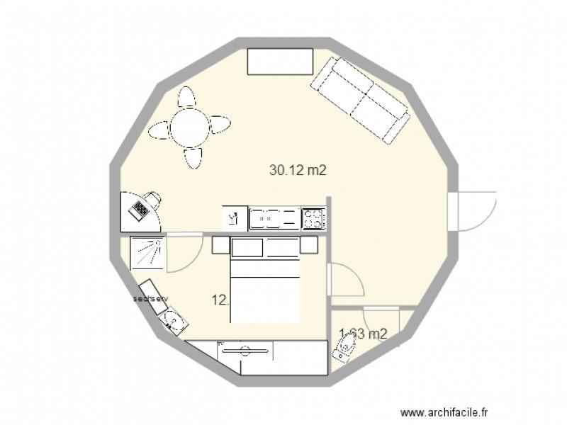 Maison Ronde 1chambre 50m2 Plan 3 Pieces 44 M2 Dessine Par Zionjah