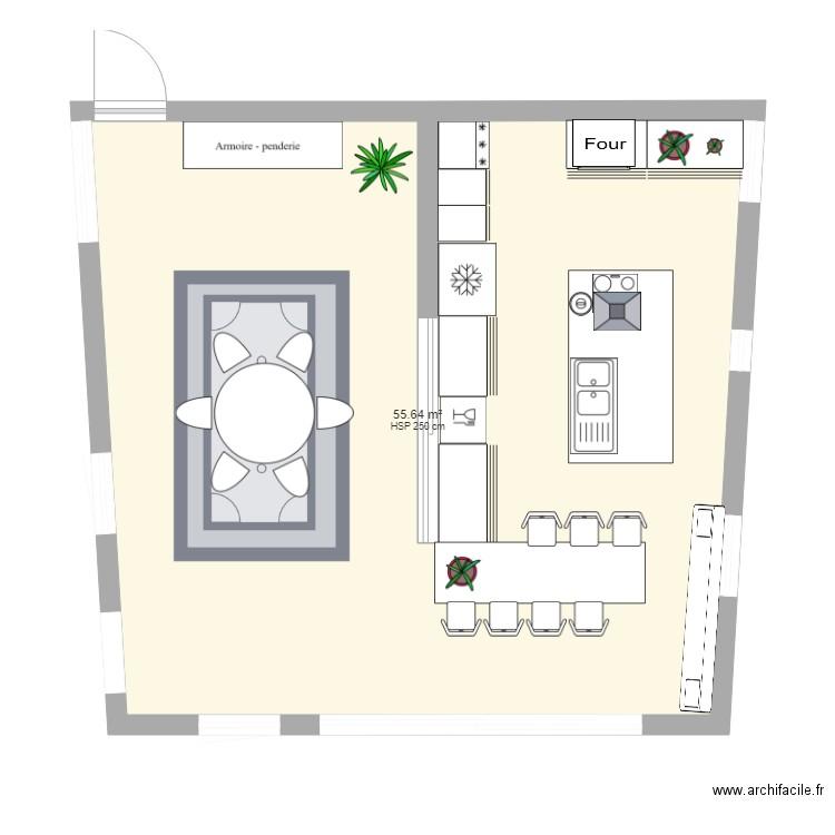ilot central plan 1 piece 56 m2