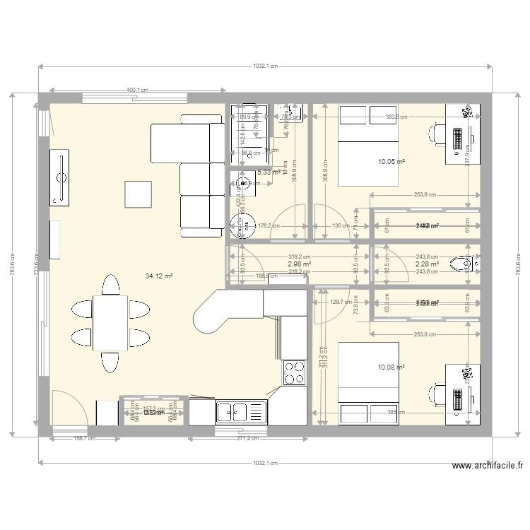 Petite Maison 2 Chambres Plein Pied Plan 9 Pieces 69 M2 Dessine Par Arcanel