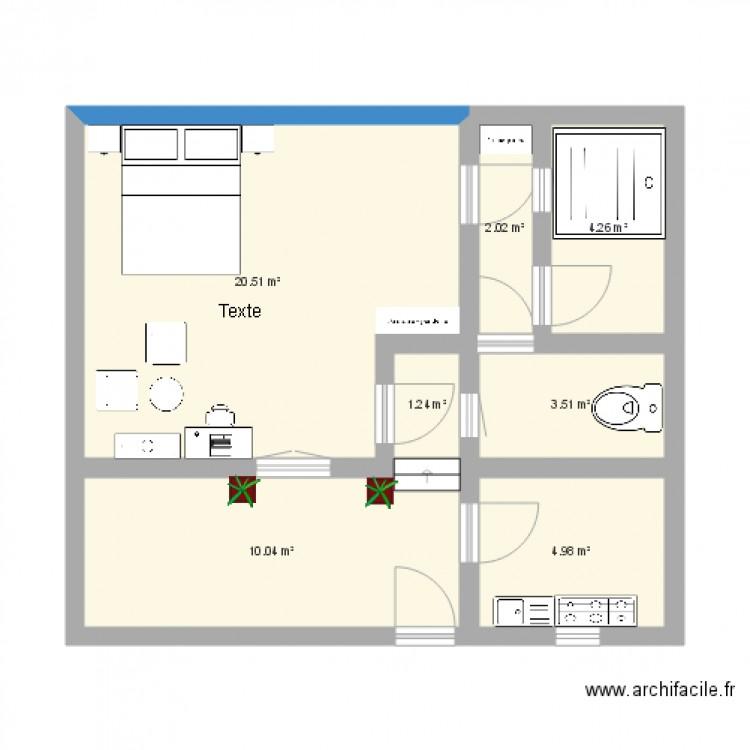 Studio Amricain Plan 7 Pices 47 M2 Dessin Par Le Tzar