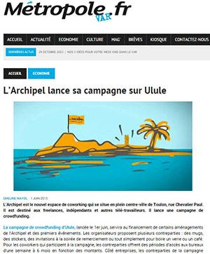Photo article Métropole Var - L'archipel lance sa campagne sur Ulule