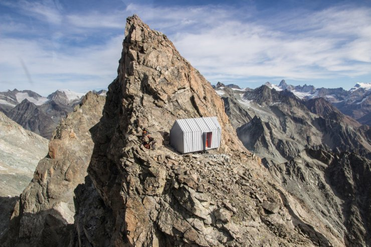 alpine shelter perched on the mountain