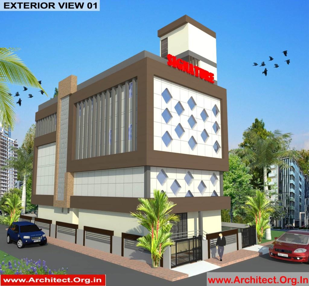 Commercial Complex Design-3D Exterior View 01 - Indranagar Lucknow UP - Mr. Abhishek Singh