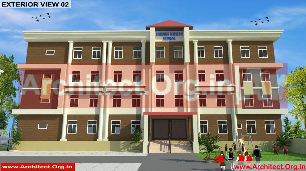 School and Hostel Design -3D Exterior view 02- Uttar Dinajpur West Bengal - Mr.Abdullah Sabir