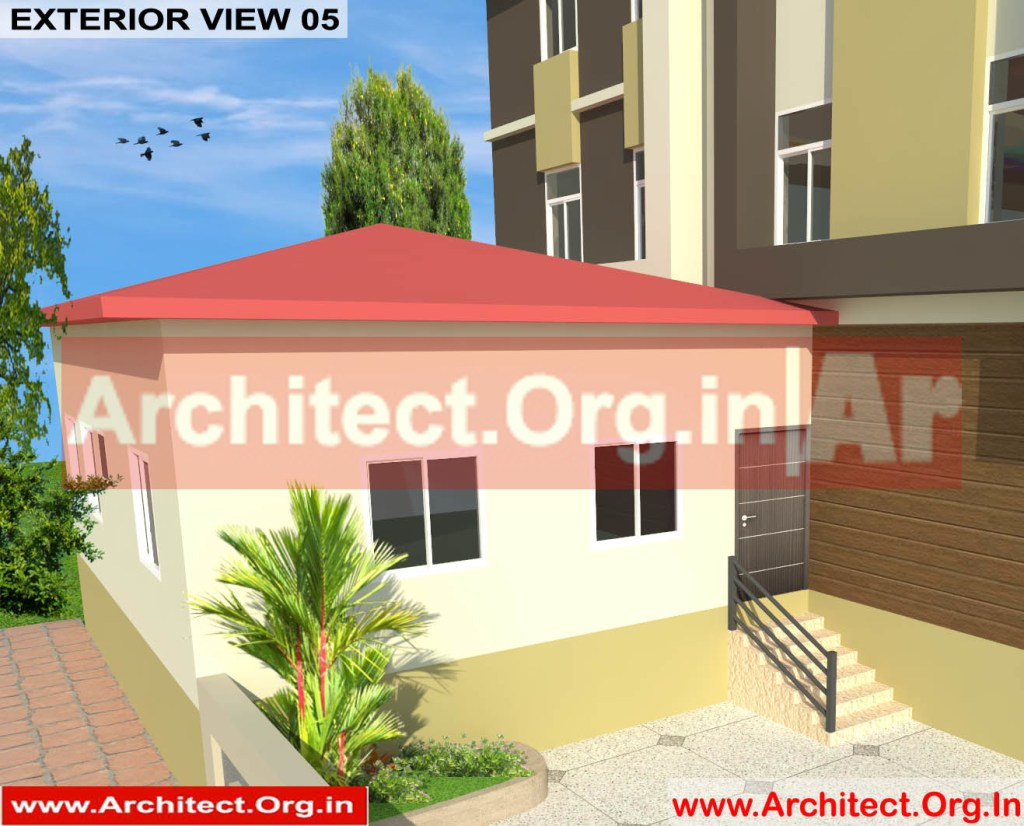 School and Hostel Design -3D Exterior view 05- Uttar Dinajpur West Bengal - Mr.Abdullah Sabir