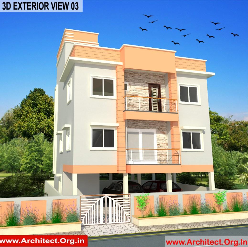 Bungalow Design -Exterior View 03 - Tambaram Chennai Tamilnadu - Mr.Vinoth S. Nagarajan