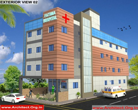 Hospital 3D Exterior Design view 02 - Jaunpur Uttar Pradesh - Dr. Farooque