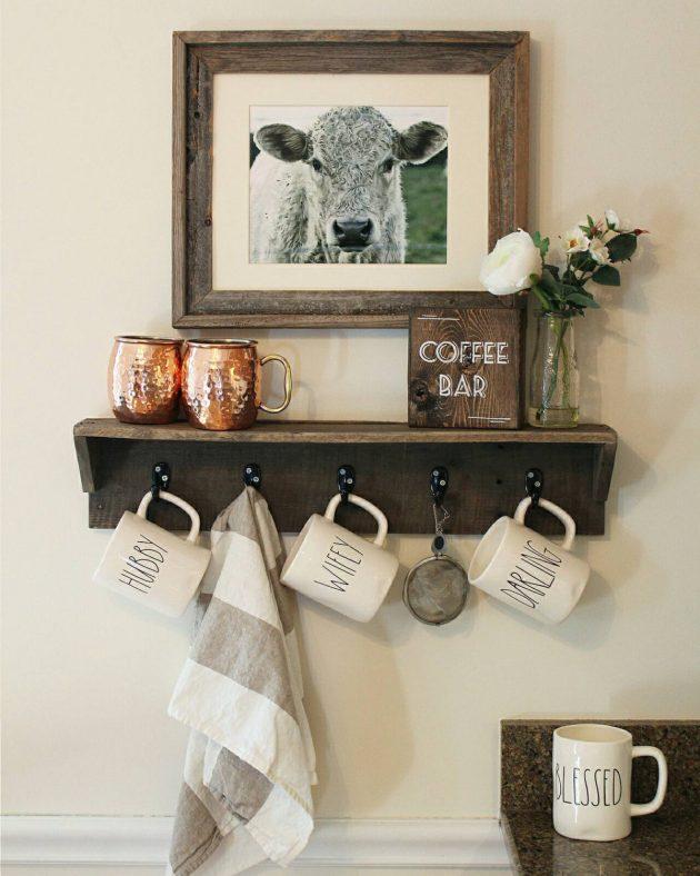 17 rustic handmade mug rack designs for