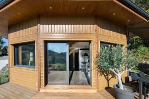 maison bois moderne et ronde