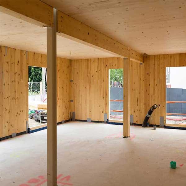 Vue intérieure du chantier de l'immeuble bois CLT Épicéa © Woodeum/Bouygues Bâtiment IDF