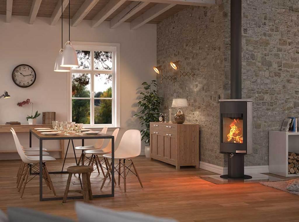 chauffage moderne d'une maison bois