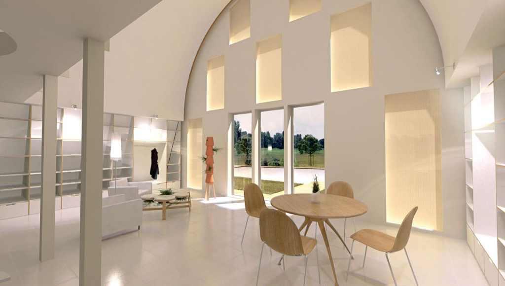 aménagement intérieur d'une maison bois moderne en forme d'une vague